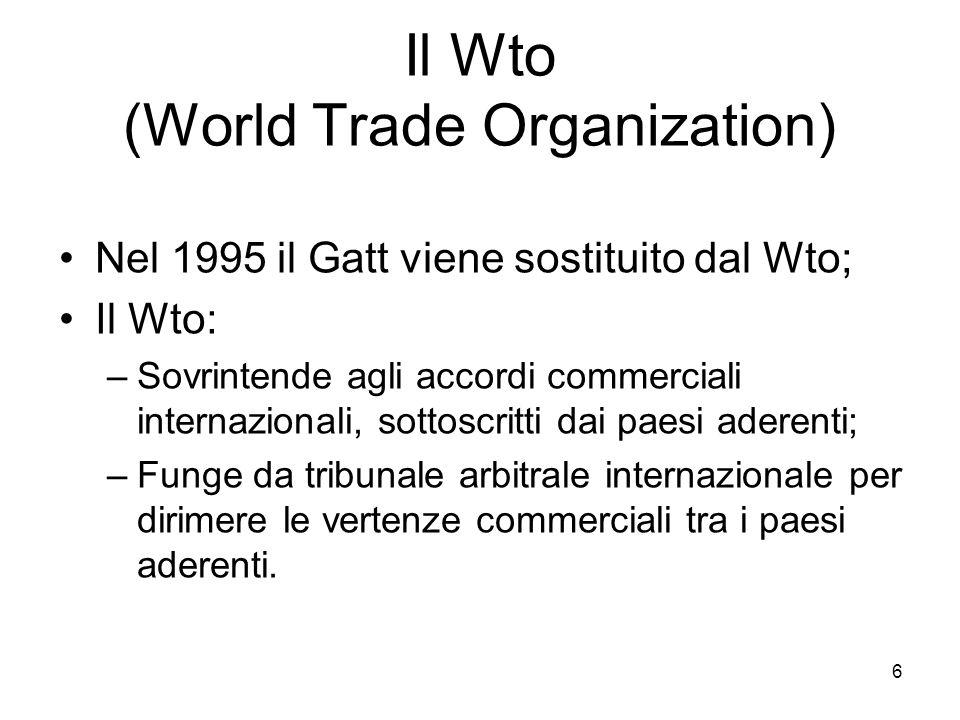 Il Wto (World Trade Organization) Nel 1995 il Gatt viene sostituito dal Wto; Il Wto: –Sovrintende agli accordi commerciali internazionali, sottoscritt