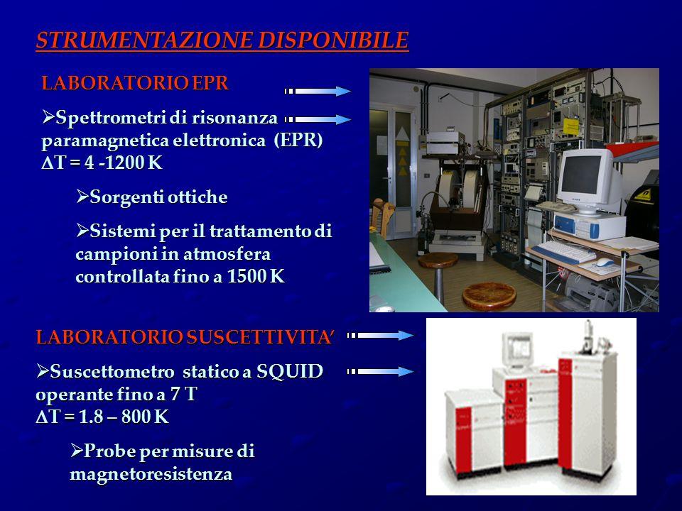 LABORATORIO EPR  Spettrometri di risonanza paramagnetica elettronica (EPR)  T = 4 -1200 K  Sorgenti ottiche  Sistemi per il trattamento di campion