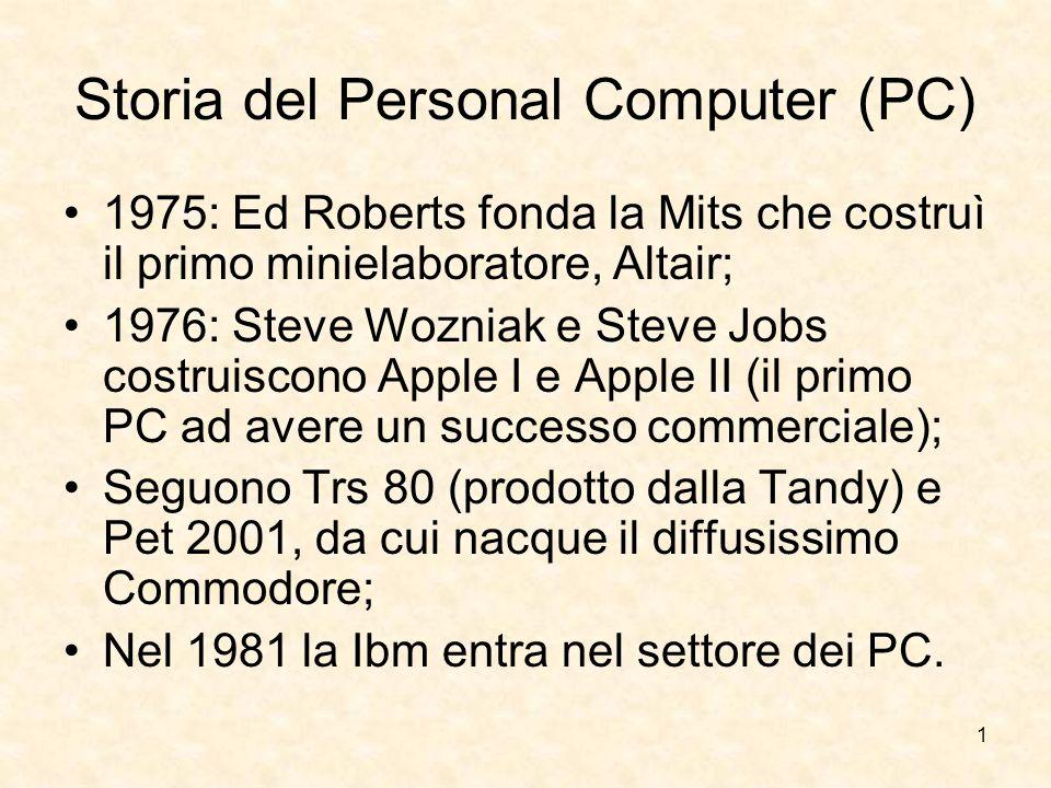 1 Storia del Personal Computer (PC) 1975: Ed Roberts fonda la Mits che costruì il primo minielaboratore, Altair; 1976: Steve Wozniak e Steve Jobs cost