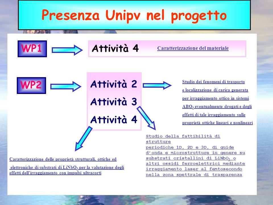 Presenza Unipv nel progetto WP1Attività 4 Caratterizzazione del materiale Attività 2 Attività 3 Attività 4 WP2 Studio dei fenomeni di trasporto e loca