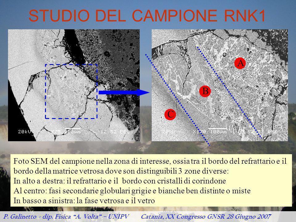 STUDIO DEL CAMPIONE RNK1 Foto SEM del campione nella zona di interesse, ossia tra il bordo del refrattario e il bordo della matrice vetrosa dove son d