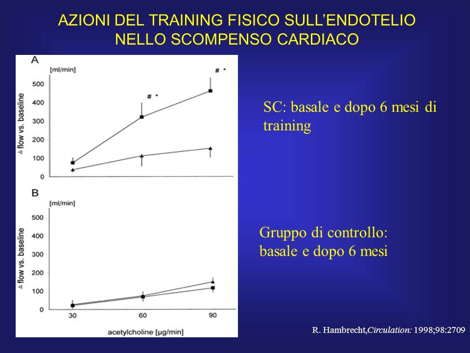 SC: basale e dopo 6 mesi di training Gruppo di controllo: basale e dopo 6 mesi R. Hambrecht,Circulation: 1998;98:2709 AZIONI DEL TRAINING FISICO SULL'