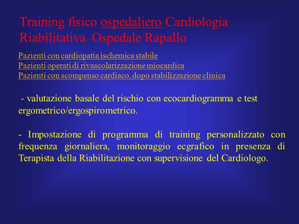 Training fisico ospedaliero Cardiologia Riabilitativa Ospedale Rapallo Pazienti con cardiopatia ischemica stabile Pazienti operati di rivascolarizzazi
