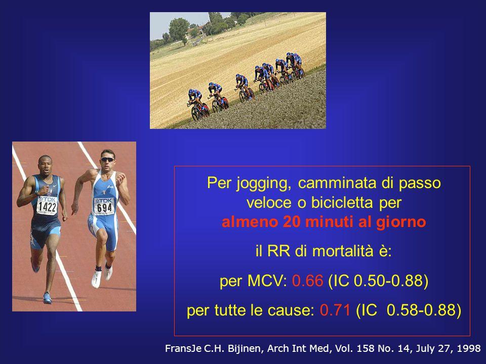 Per jogging, camminata di passo veloce o bicicletta per almeno 20 minuti al giorno il RR di mortalità è: per MCV: 0.66 (IC 0.50-0.88) per tutte le cau