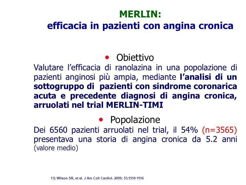 Obiettivo Valutare l'efficacia di ranolazina in una popolazione di pazienti anginosi più ampia, mediante l'analisi di un sottogruppo di pazienti con s