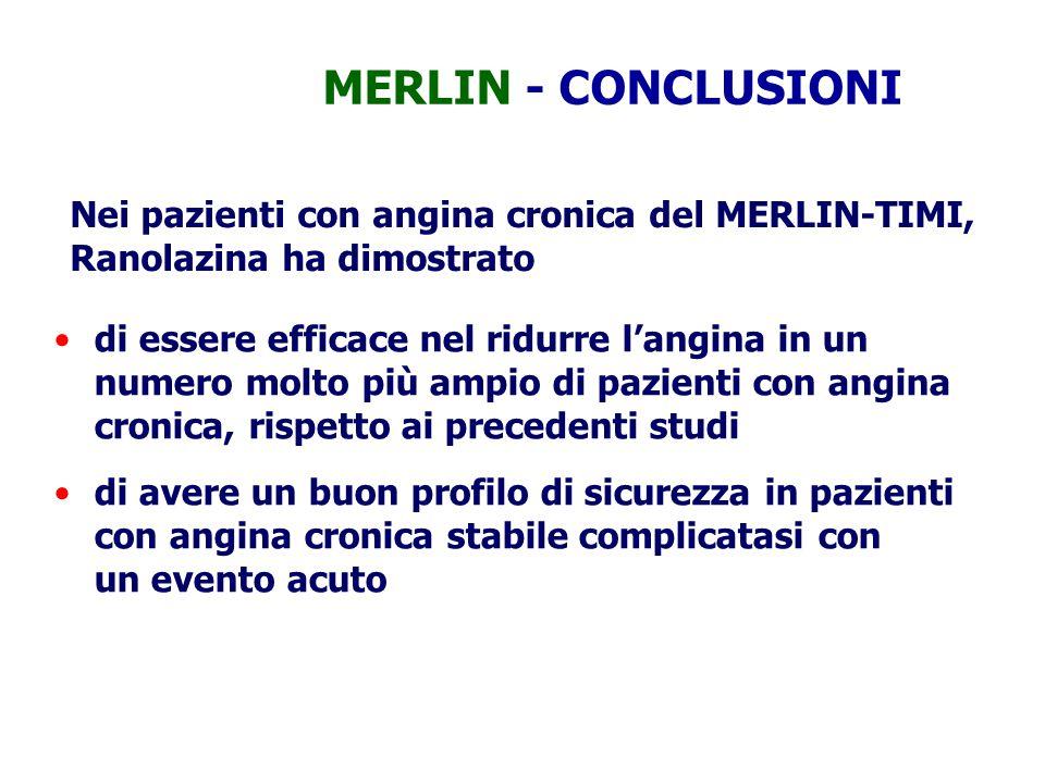 MERLIN - CONCLUSIONI Nei pazienti con angina cronica del MERLIN-TIMI, Ranolazina ha dimostrato di essere efficace nel ridurre l'angina in un numero mo