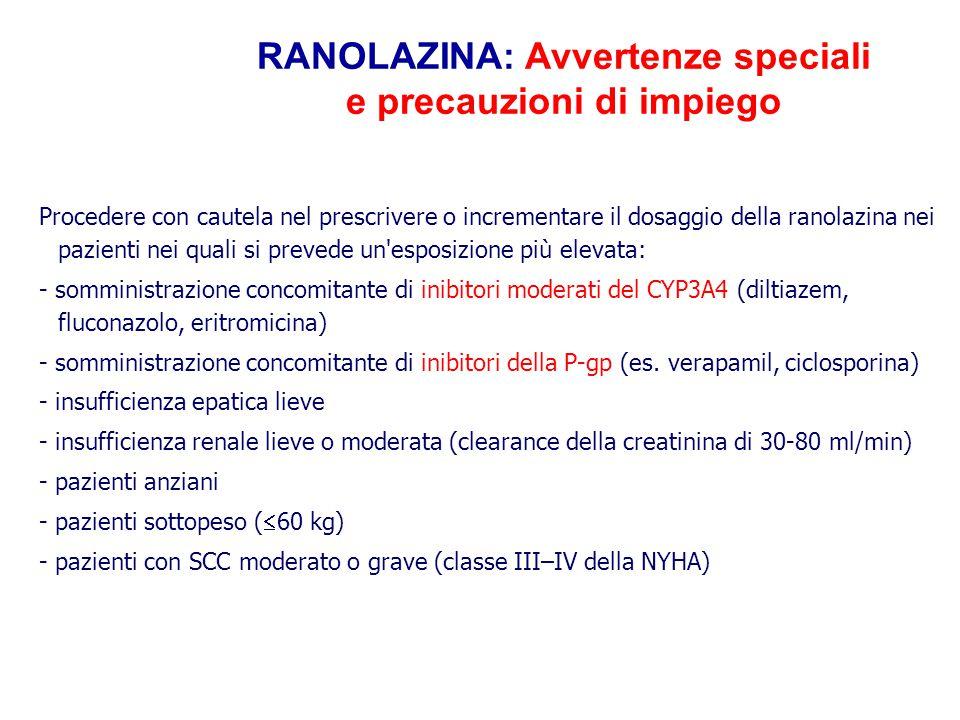RANOLAZINA: Avvertenze speciali e precauzioni di impiego Procedere con cautela nel prescrivere o incrementare il dosaggio della ranolazina nei pazient
