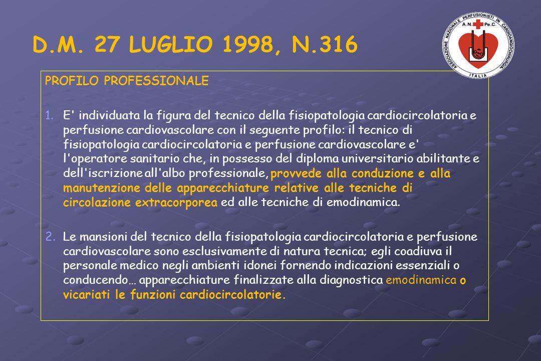D.M. 27 LUGLIO 1998, N.316 PROFILO PROFESSIONALE 1. 1.E' individuata la figura del tecnico della fisiopatologia cardiocircolatoria e perfusione cardio