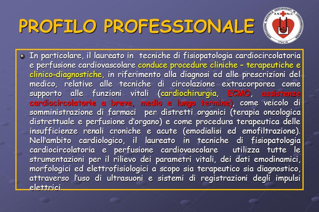 PROFILO PROFESSIONALE In particolare, il laureato in tecniche di fisiopatologia cardiocircolatoria e perfusione cardiovascolare conduce procedure clin