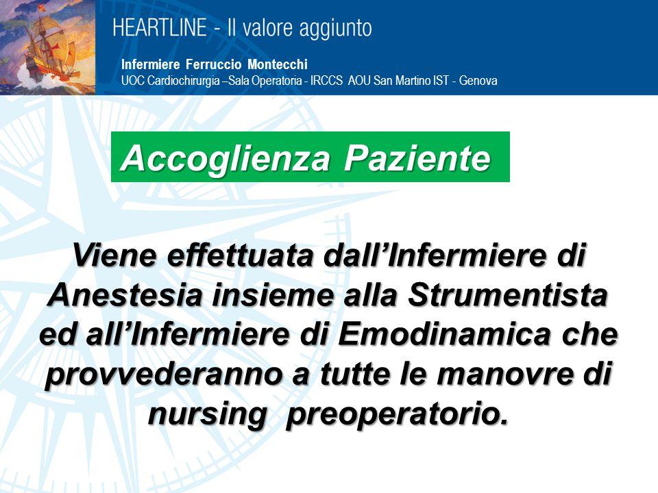 Infermiere Ferruccio Montecchi UOC Cardiochirurgia –Sala Operatoria - IRCCS AOU San Martino IST - Genova Viene effettuata dall'Infermiere di Anestesia insieme alla Strumentista ed all'Infermiere di Emodinamica che provvederanno a tutte le manovre di nursing preoperatorio.