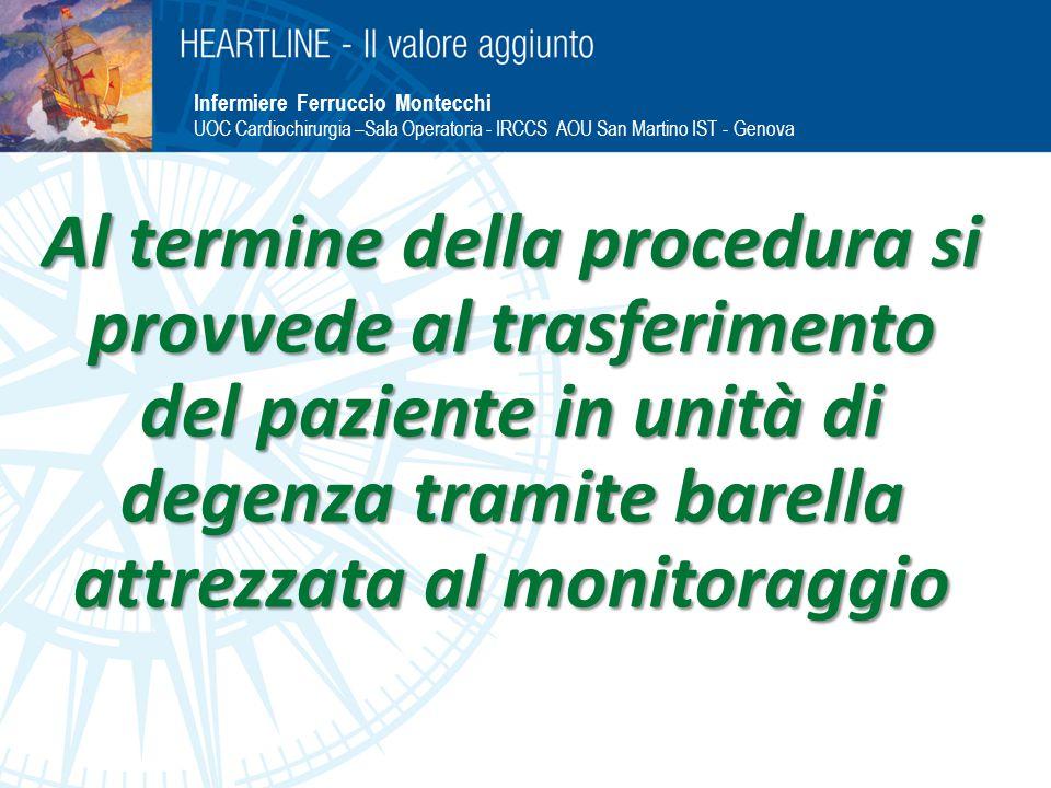 Al termine della procedura si provvede al trasferimento del paziente in unità di degenza tramite barella attrezzata al monitoraggio Infermiere Ferruccio Montecchi UOC Cardiochirurgia –Sala Operatoria - IRCCS AOU San Martino IST - Genova