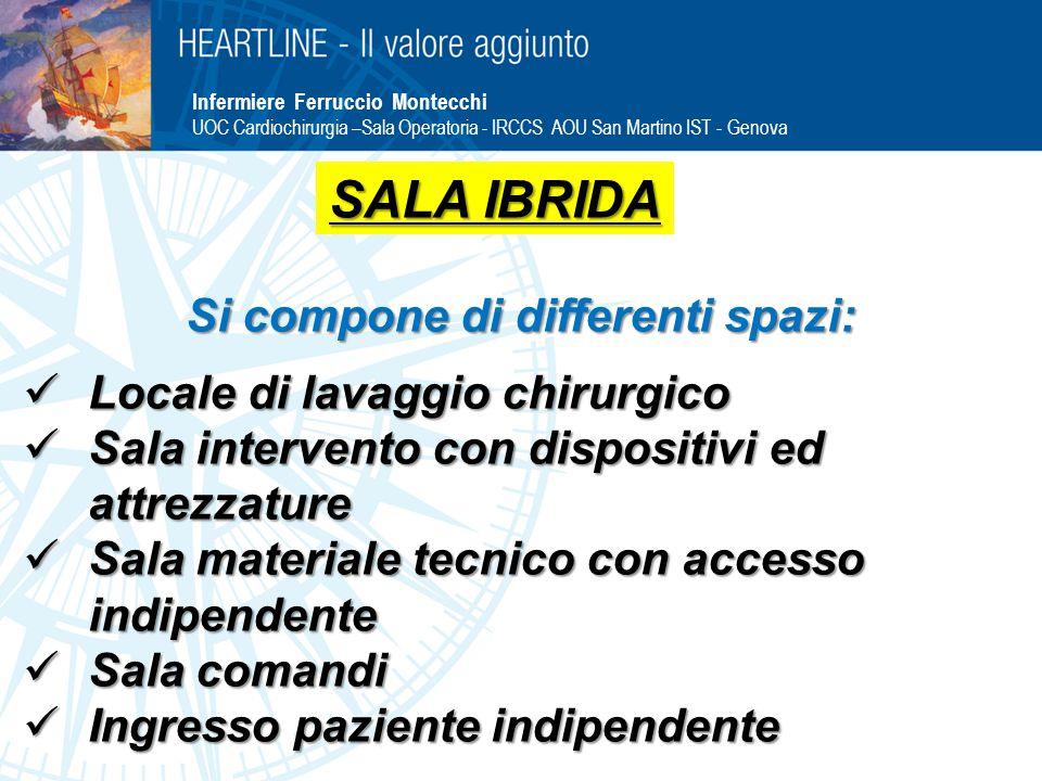 Infermiere Ferruccio Montecchi UOC Cardiochirurgia –Sala Operatoria - IRCCS AOU San Martino IST - Genova Si compone di differenti spazi: Locale di lav