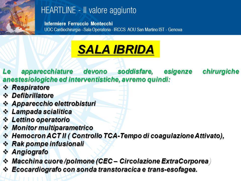 Infermiere Ferruccio Montecchi UOC Cardiochirurgia –Sala Operatoria - IRCCS AOU San Martino IST - Genova Le apparecchiature devono soddisfare, esigenz