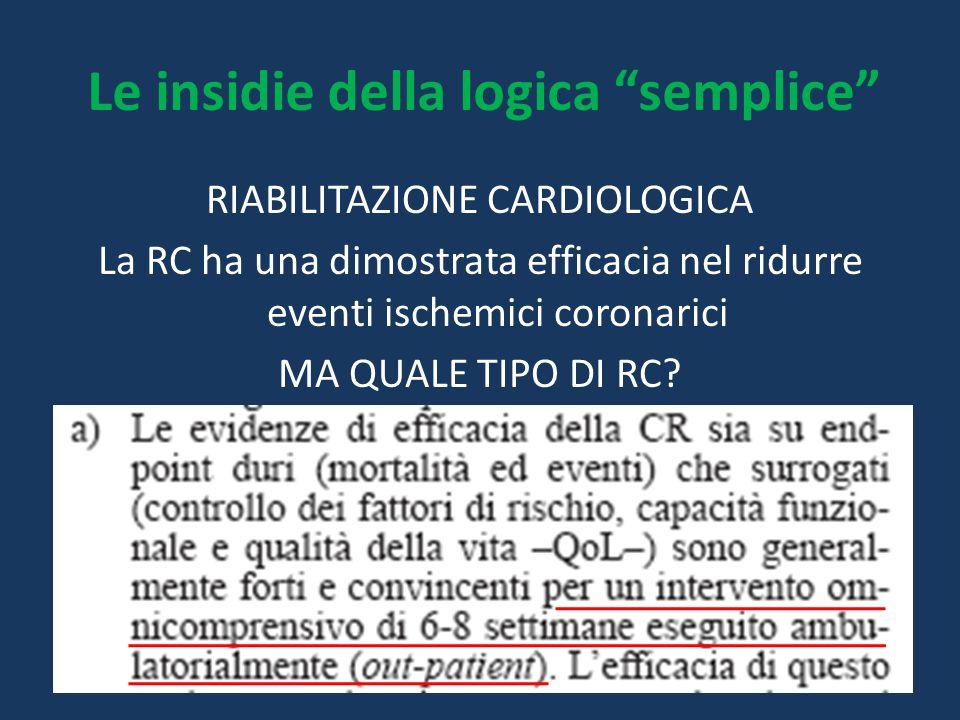 """RIABILITAZIONE CARDIOLOGICA La RC ha una dimostrata efficacia nel ridurre eventi ischemici coronarici MA QUALE TIPO DI RC? Le insidie della logica """"se"""