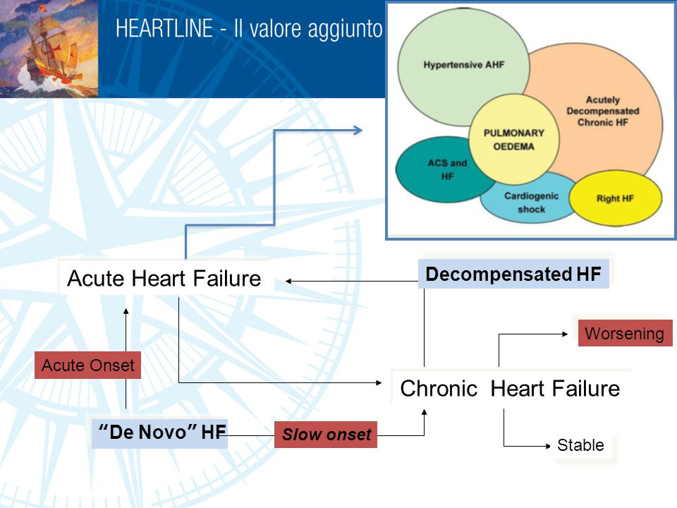 "Acute Heart Failure Chronic Heart Failure ""De Novo"" HF Slow onset Acute Onset Stable Worsening Decompensated HF"
