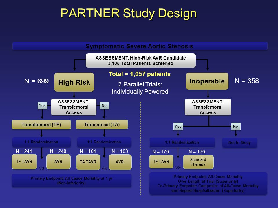 N = 179 N = 358 Inoperable Standard Therapy Standard Therapy ASSESSMENT: Transfemoral Access Not In Study TF TAVR Primary Endpoint: All-Cause Mortalit