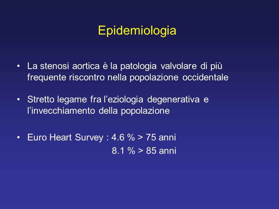 Epidemiologia La stenosi aortica è la patologia valvolare di più frequente riscontro nella popolazione occidentale Stretto legame fra l'eziologia dege