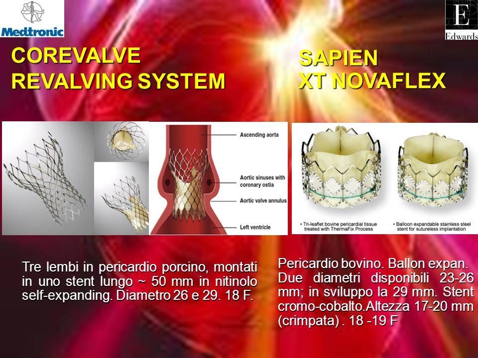 COREVALVE COREVALVE REVALVING SYSTEM REVALVING SYSTEM SAPIEN XT NOVAFLEX Tre lembi in pericardio porcino, montati in uno stent lungo ~ 50 mm in nitino
