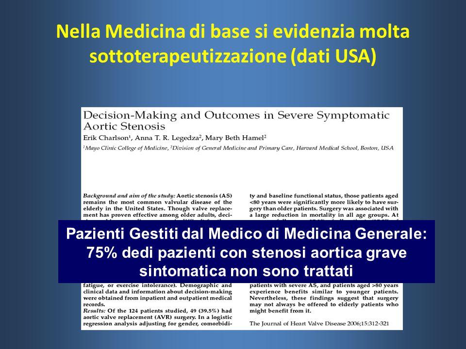 Nella Medicina di base si evidenzia molta sottoterapeutizzazione (dati USA) Pazienti Gestiti dal Medico di Medicina Generale: 75% dedi pazienti con st