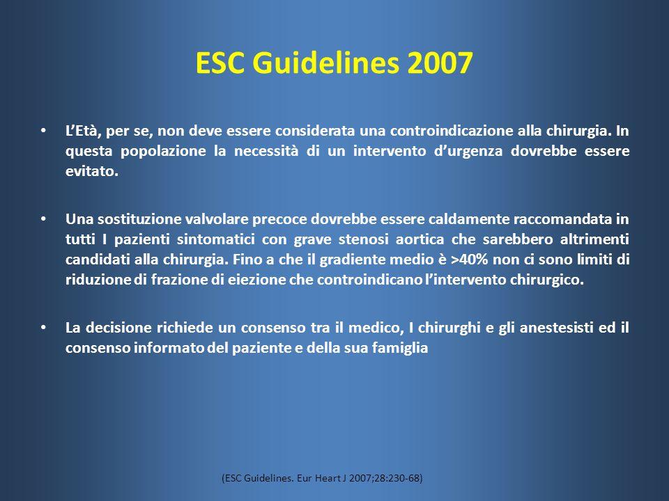 ESC Guidelines 2007 L'Età, per se, non deve essere considerata una controindicazione alla chirurgia. In questa popolazione la necessità di un interven