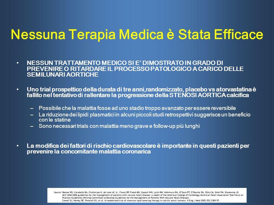 Nessuna Terapia Medica è Stata Efficace NESSUN TRATTAMENTO MEDICO SI E' DIMOSTRATO IN GRADO DI PREVENIRE O RITARDARE IL PROCESSO PATOLOGICO A CARICO D