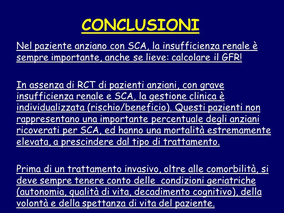 CONCLUSIONI Nel paziente anziano con SCA, la insufficienza renale è sempre importante, anche se lieve: calcolare il GFR.