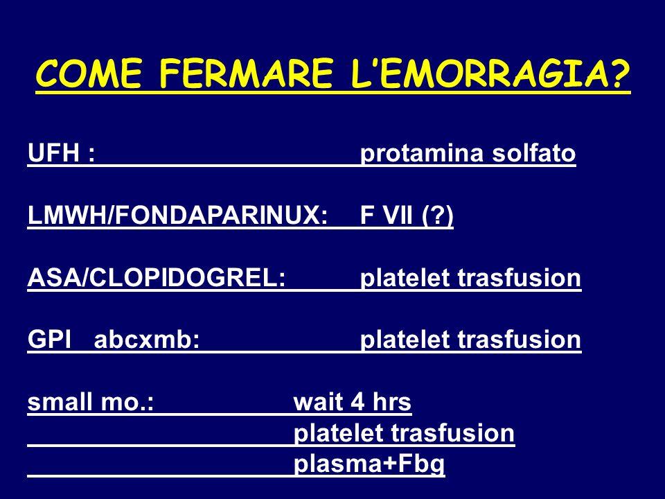 COME FERMARE L'EMORRAGIA.