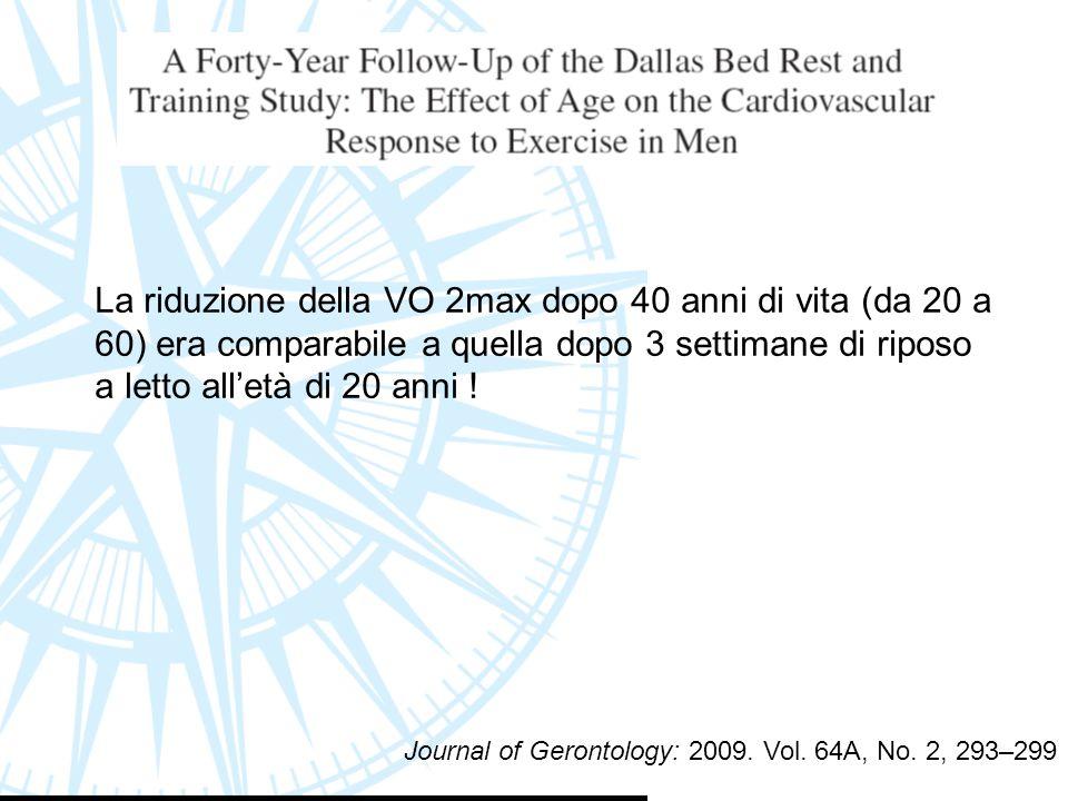 La riduzione della VO 2max dopo 40 anni di vita (da 20 a 60) era comparabile a quella dopo 3 settimane di riposo a letto all'età di 20 anni ! Journal