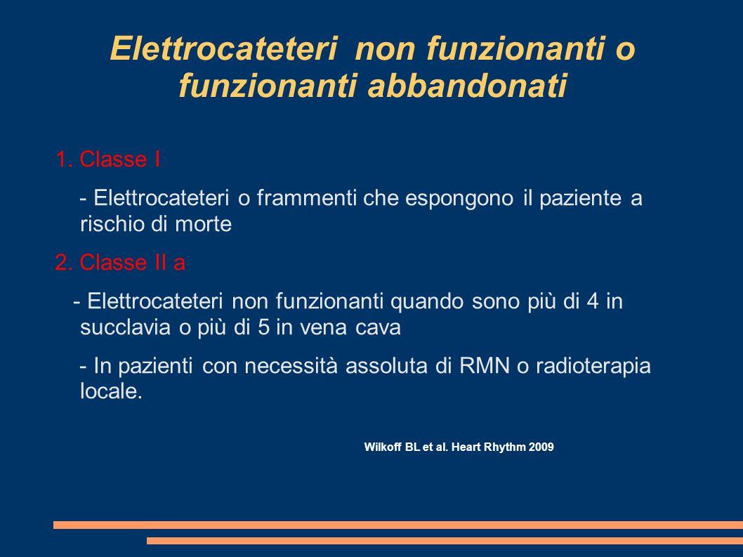 Elettrocateteri non funzionanti o funzionanti abbandonati 1. Classe I - Elettrocateteri o frammenti che espongono il paziente a rischio di morte 2. Cl
