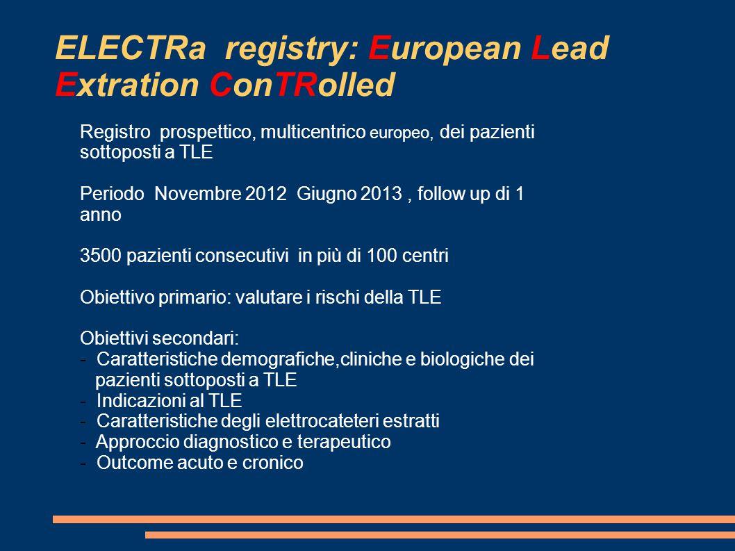 ELECTRa registry: European Lead Extration ConTRolled Registro prospettico, multicentrico europeo, dei pazienti sottoposti a TLE Periodo Novembre 2012