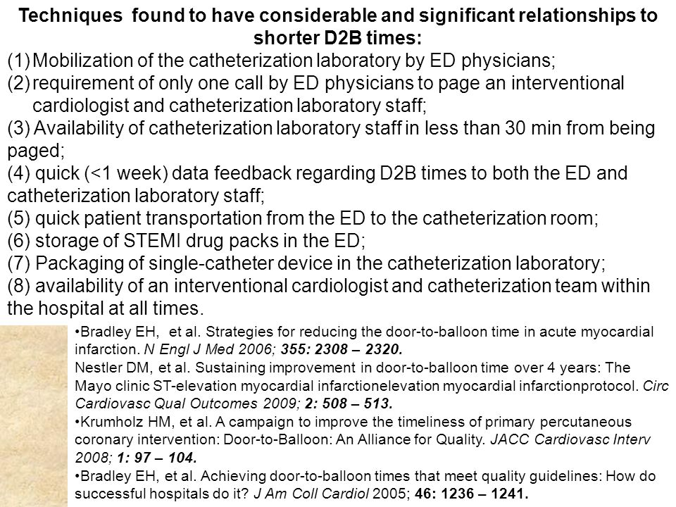 Techniques found to have considerable and significant relationships to shorter D2B times: (1)Mobilization of the catheterization laboratory by ED phys