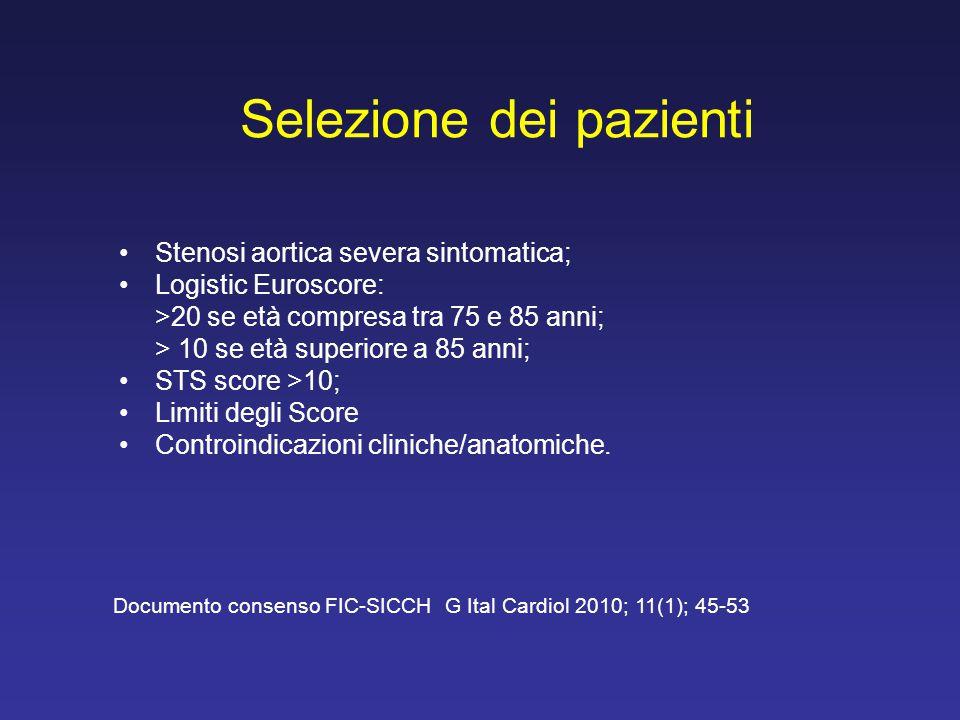 Selezione dei pazienti Stenosi aortica severa sintomatica; Logistic Euroscore: >20 se età compresa tra 75 e 85 anni; > 10 se età superiore a 85 anni;