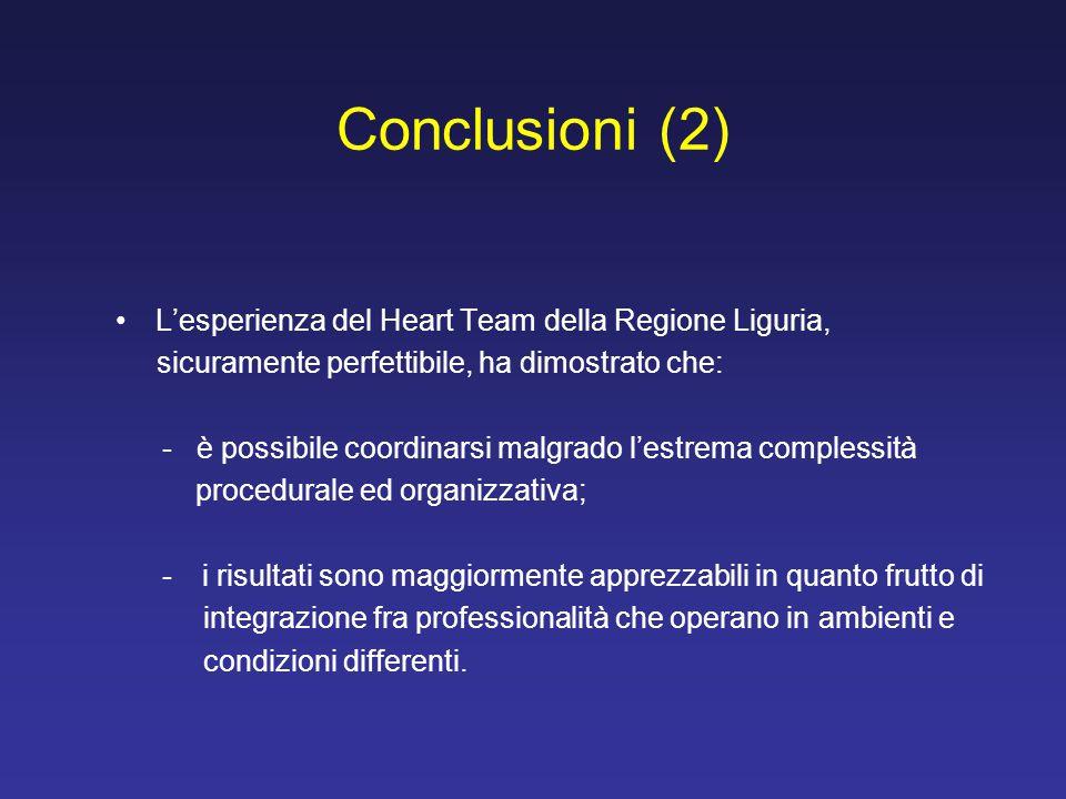 L'esperienza del Heart Team della Regione Liguria, sicuramente perfettibile, ha dimostrato che: - è possibile coordinarsi malgrado l'estrema complessi