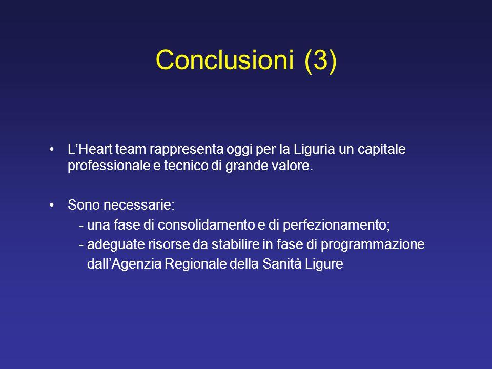 L'Heart team rappresenta oggi per la Liguria un capitale professionale e tecnico di grande valore. Sono necessarie: - una fase di consolidamento e di