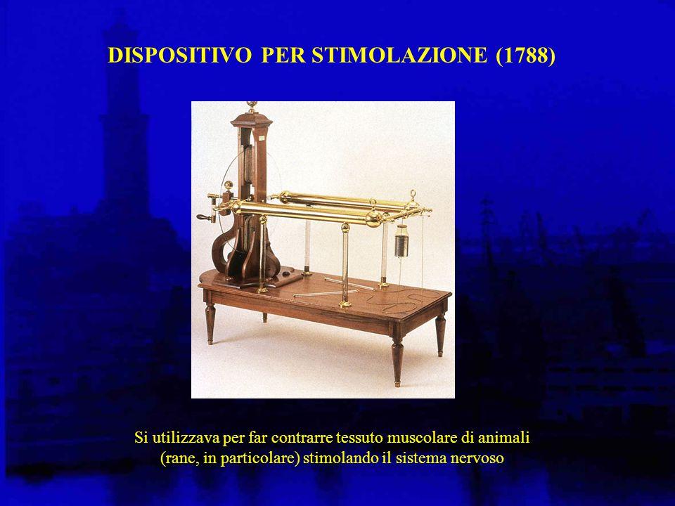 DISPOSITIVO PER STIMOLAZIONE (1788) Si utilizzava per far contrarre tessuto muscolare di animali (rane, in particolare) stimolando il sistema nervoso