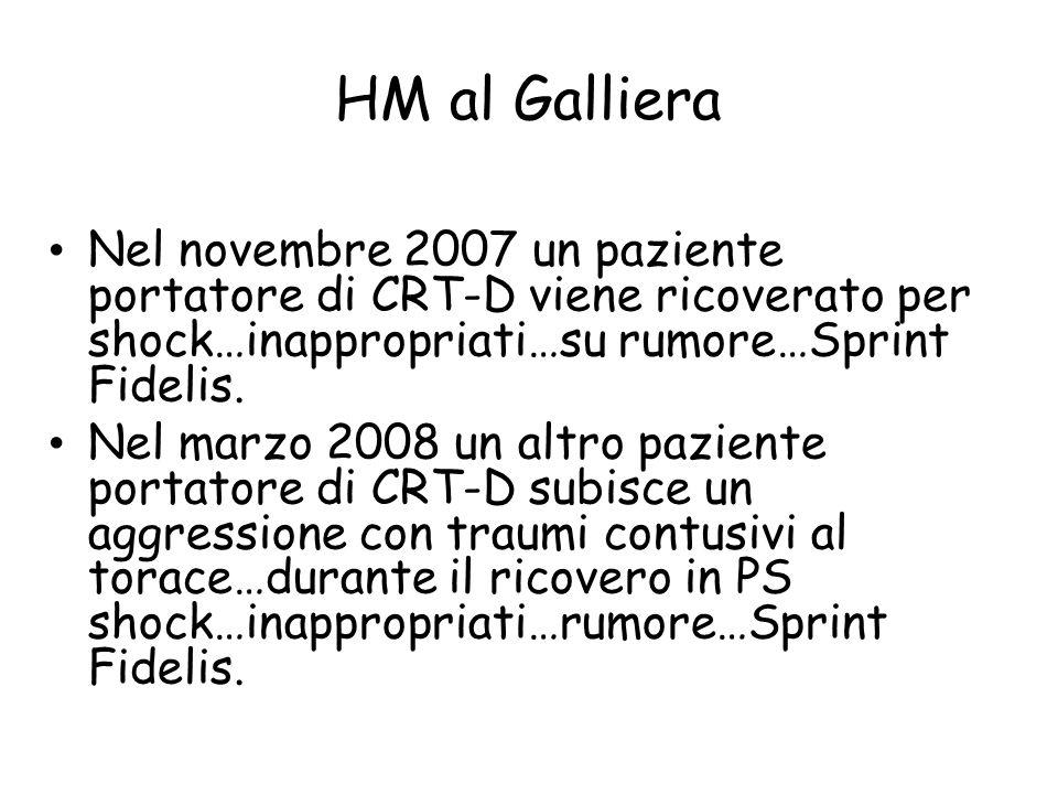HM al Galliera Nel novembre 2007 un paziente portatore di CRT-D viene ricoverato per shock…inappropriati…su rumore…Sprint Fidelis. Nel marzo 2008 un a