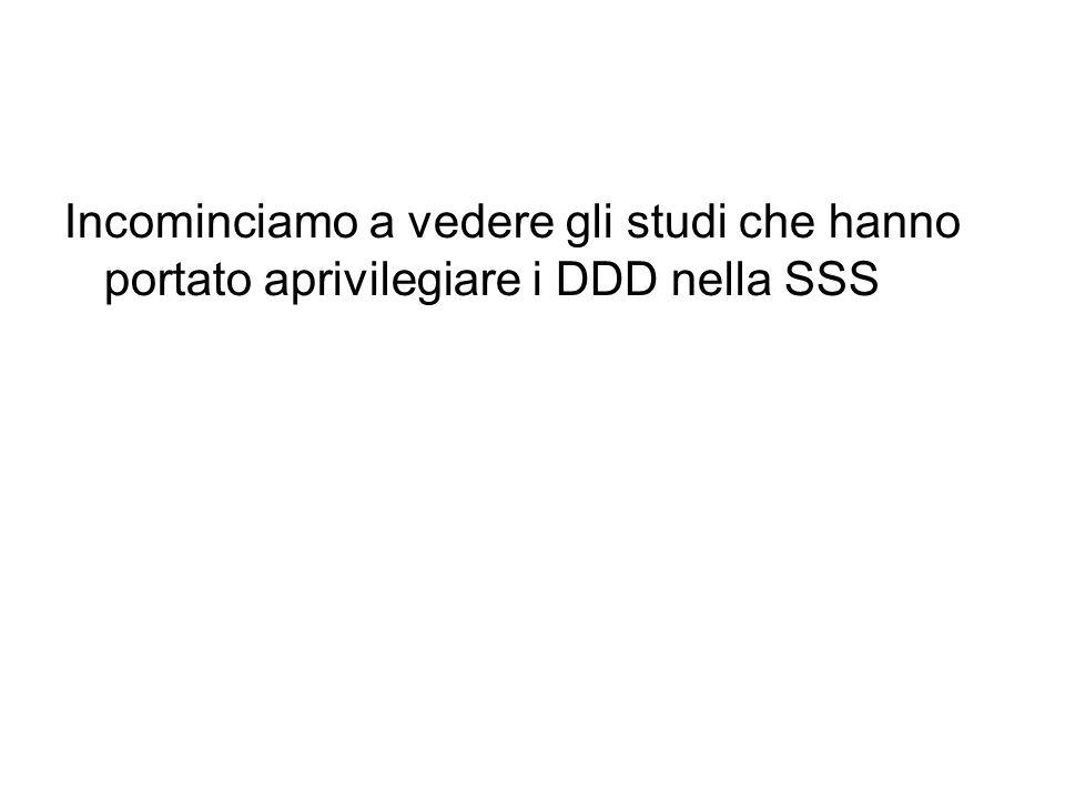 Incominciamo a vedere gli studi che hanno portato aprivilegiare i DDD nella SSS