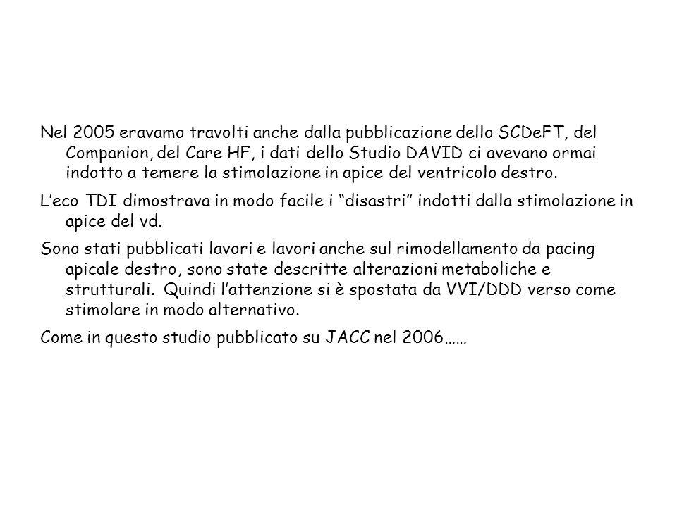 Nel 2005 eravamo travolti anche dalla pubblicazione dello SCDeFT, del Companion, del Care HF, i dati dello Studio DAVID ci avevano ormai indotto a tem