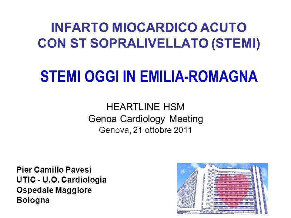 INFARTO MIOCARDICO ACUTO CON ST SOPRALIVELLATO (STEMI) STEMI OGGI IN EMILIA-ROMAGNA Pier Camillo Pavesi UTIC - U.O. Cardiologia Ospedale Maggiore Bolo