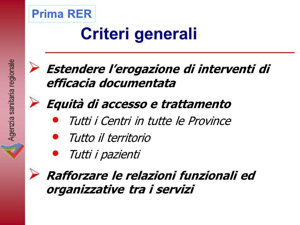 Criteri generali  Estendere l'erogazione di interventi di efficacia documentata  Equità di accesso e trattamento Tutti i Centri in tutte le Province
