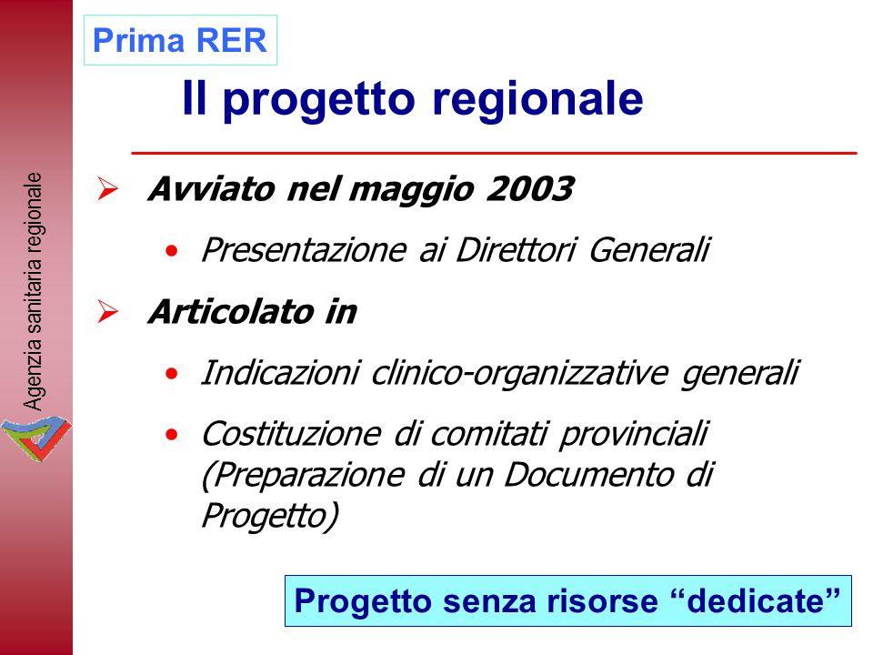 Il progetto regionale  Avviato nel maggio 2003 Presentazione ai Direttori Generali  Articolato in Indicazioni clinico-organizzative generali Costitu