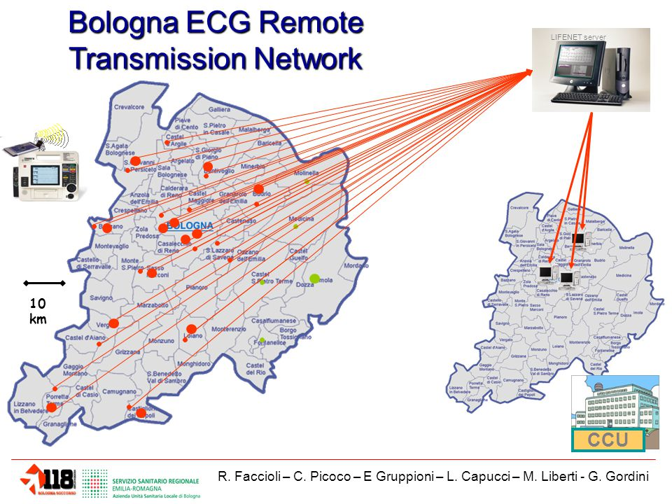 LIFENET server 10 km Bologna ECG Remote Transmission Network CCU R.