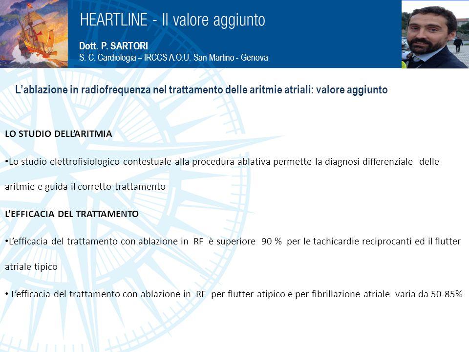 Dott. P. SARTORI S. C. Cardiologia – IRCCS A.O.U. San Martino - Genova L'ablazione in radiofrequenza nel trattamento delle aritmie atriali: valore agg