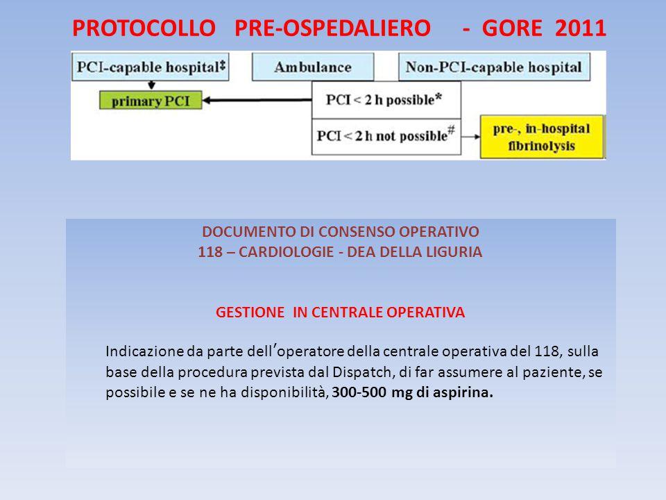 PROTOCOLLO PRE-OSPEDALIERO - GORE 2011 DOCUMENTO DI CONSENSO OPERATIVO 118 – CARDIOLOGIE - DEA DELLA LIGURIA GESTIONE IN CENTRALE OPERATIVA Indicazione da parte dell'operatore della centrale operativa del 118, sulla base della procedura prevista dal Dispatch, di far assumere al paziente, se possibile e se ne ha disponibilità, 300-500 mg di aspirina.