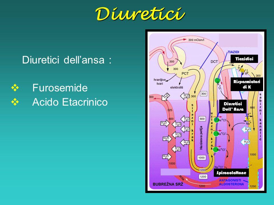 Diuretici dell'ansa :  Furosemide  Acido Etacrinico Tiazidici Diuretici Dell' Ansa Risparmiatori di K SpironolattoneDiuretici