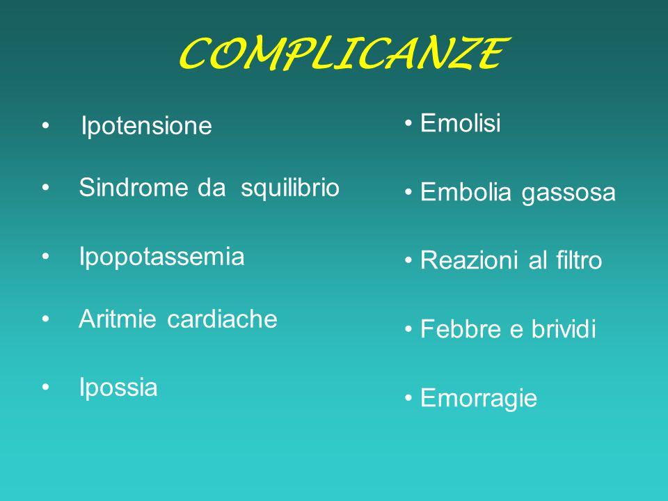 COMPLICANZE Ipotensione Sindrome da squilibrio Ipopotassemia Aritmie cardiache Ipossia Emolisi Embolia gassosa Reazioni al filtro Febbre e brividi Emo