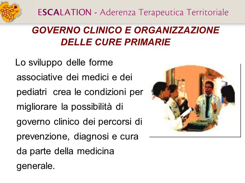 GOVERNO CLINICO E ORGANIZZAZIONE DELLE CURE PRIMARIE Lo sviluppo delle forme associative dei medici e dei pediatri crea le condizioni per migliorare l