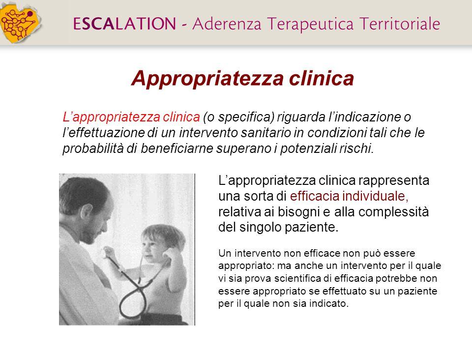 L'appropriatezza clinica (o specifica) riguarda l'indicazione o l'effettuazione di un intervento sanitario in condizioni tali che le probabilità di beneficiarne superano i potenziali rischi.