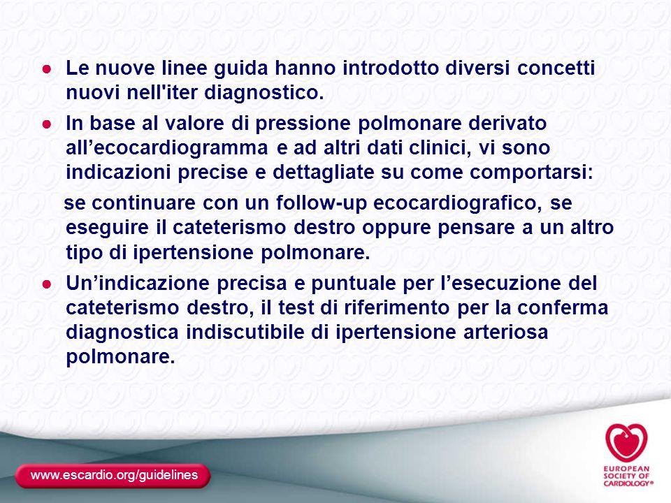 ●Le nuove linee guida hanno introdotto diversi concetti nuovi nell'iter diagnostico. ●In base al valore di pressione polmonare derivato all'ecocardiog