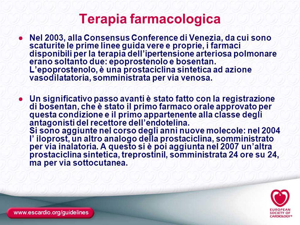 Terapia farmacologica ●Nel 2003, alla Consensus Conference di Venezia, da cui sono scaturite le prime linee guida vere e proprie, i farmaci disponibil